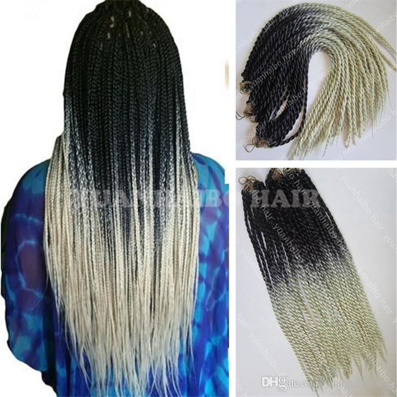 High Quality 24inch Fold Black Blonde Ombre Senegalese Twist