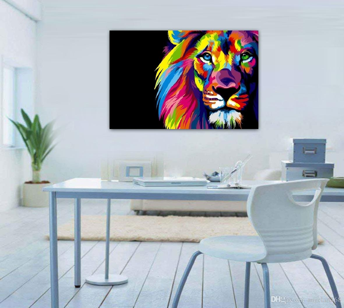 2017 Unframed Wall Art Oil Painting On Canvas Animal Paintings Colourful  Lion Head Picture Decor Living Room Decor From Angelart168, $1.61 |  Dhgate.Com Part 37
