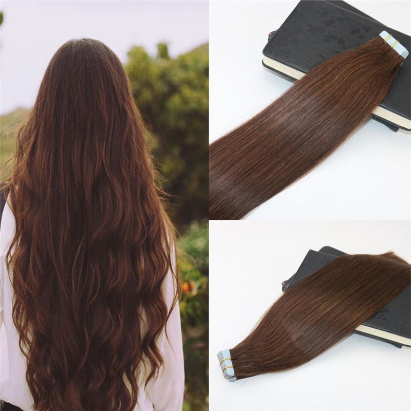 Tape In Extensions Human Hair 4 Dark Brown 100 Skin Weft Invisible