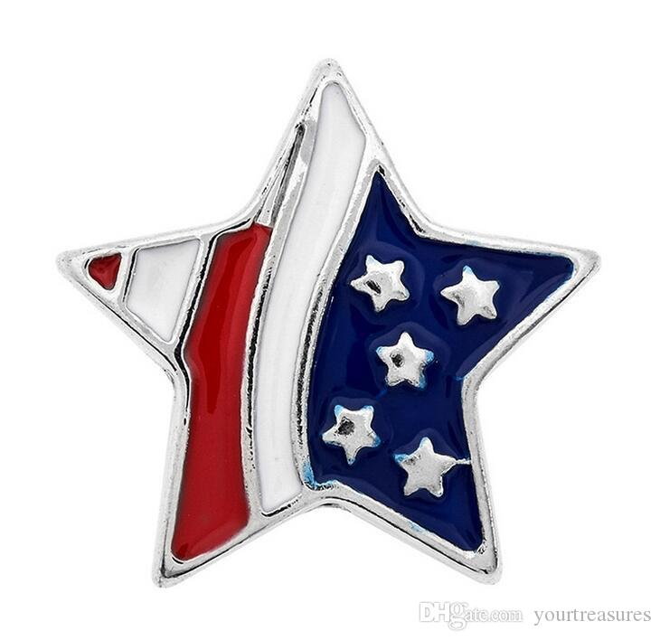 Star 18mm Button Ginger Snap Charms Jewelry Interchangeable Jewerly Charms Pendants Necklace 2016 Best Selling