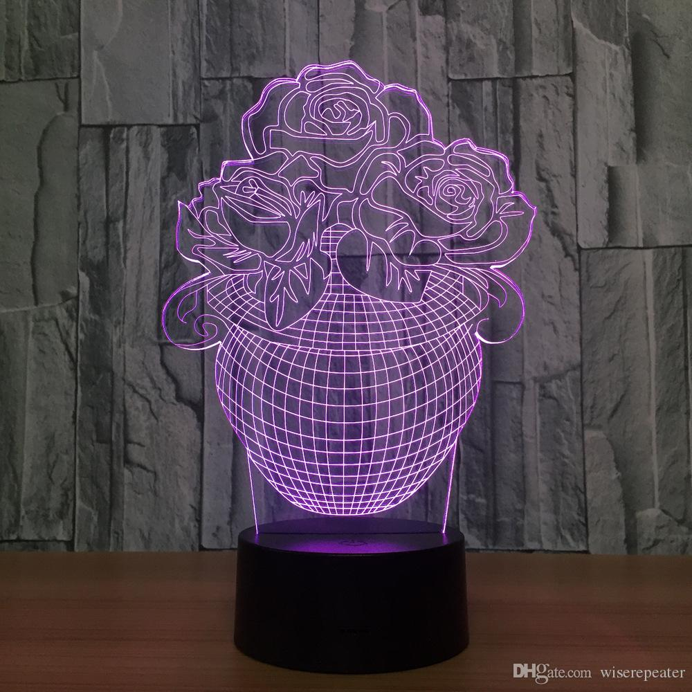 2017 flower vase 3d illusion led lamp night light 7 rgb lights dc 2017 flower vase 3d illusion led lamp night light 7 rgb lights dc 5v usb powered aa battery dropshipping retail box 3d lamp 3d illusion lamp 3d led lamp reviewsmspy