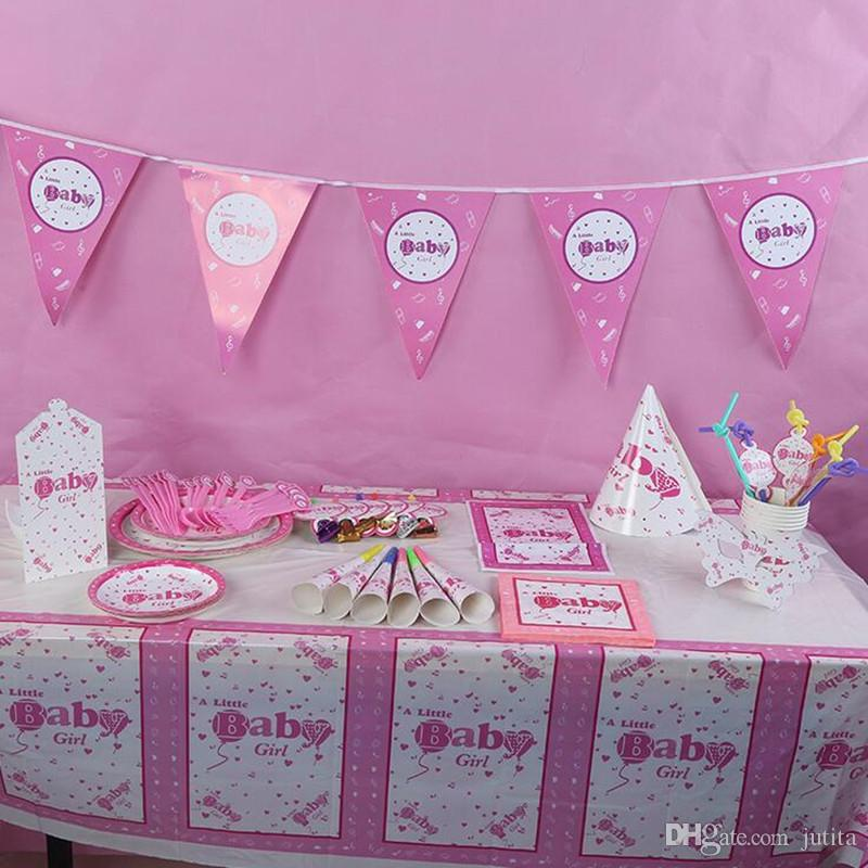 Pink Baby Girl Disposable Theme Birthday Party Decoration Paper Tableware Set Girls Princess Plate Napkin Blowouts Event Party Supplies