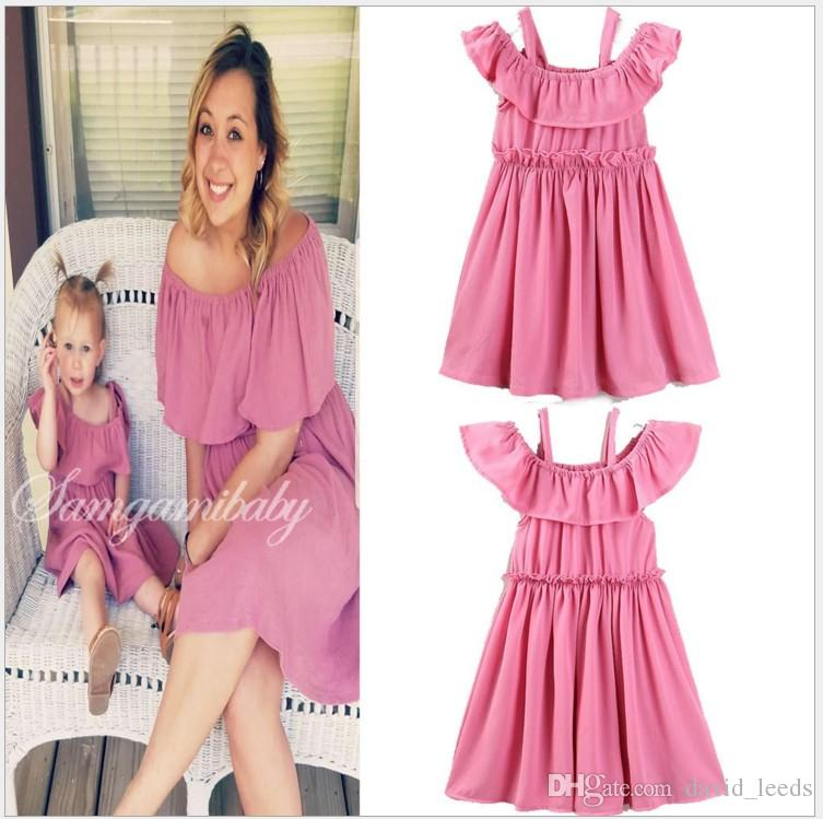 2019 Hot Sale Mother and Daughter Family Matching Dress Fashion Girls Summer Ruffle Sleeveless Dresses Baby Girl Skirts Mother and Daughter