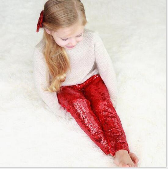 Kız Tayt Çocuk Pembe Gümüş Altın Pullu Tayt Pantolon 9 Renk Tayt Pamuk Pullu Pantolon Kız Çocuk Bahar Sonbahar Sıkı Stok