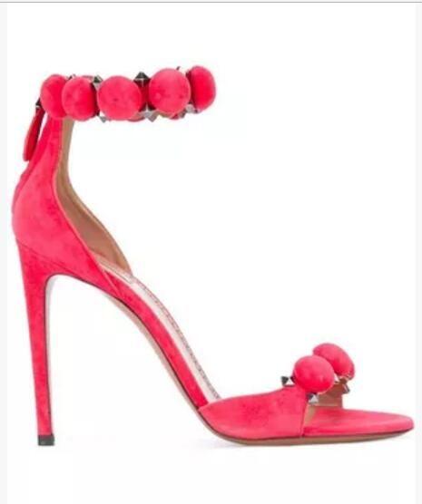 30986aeb9de 2017 gladiator sandals pom pom high heels fashion spike stud summer shoes  hot pink ladies pumps thin heel rivets ankle strap sandal