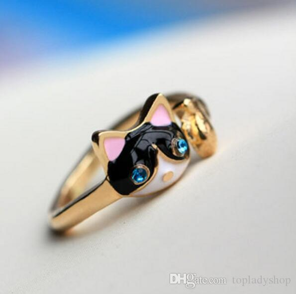 La nueva gota de aceite de cristal anillo de diamantes de moda bule eyes gato anillo anillo de apertura al por mayor envío gratuito