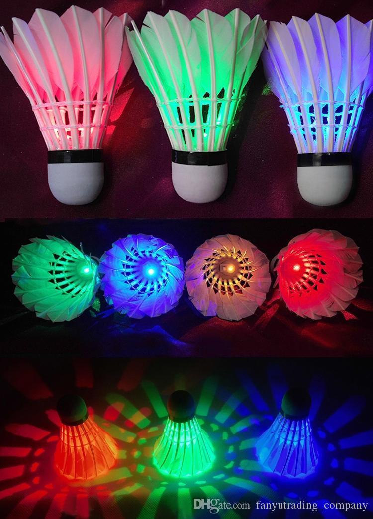 dark night colorful glowing led badminton shuttlecock birdies