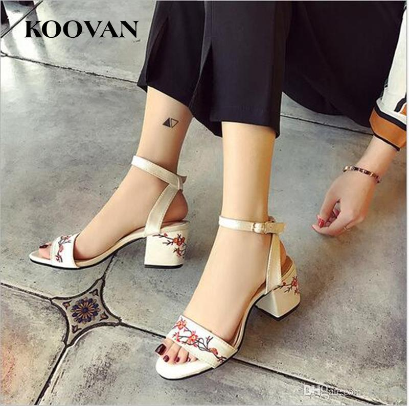 3f2a161a8bf1c Koovan Fashion Women Sandals 2017 New Summer Retro Embroidered 6.5 Cm High  Heel Open Toes Ladies Shoes Flower Silk W062