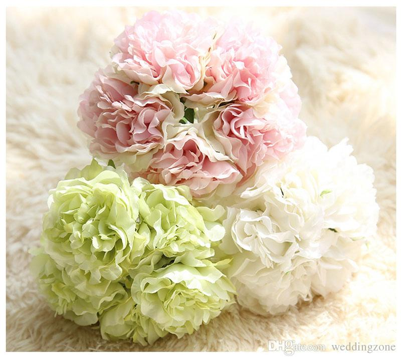 Hand bouquet 26 cm/10 inch Artificial Subshrubby Plastic peony flower Silk Flower For Wedding Party Home Decoration