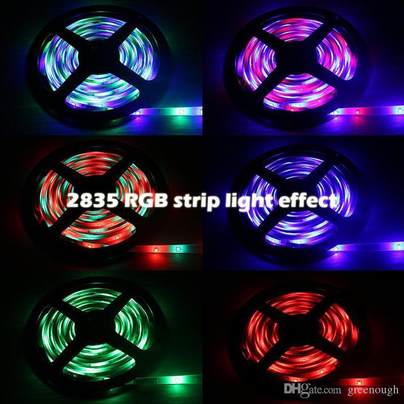 2835SMD RGB LED Kit de Luzes de Tira Flexível 16.4Ft 5M 300leds Tiras de LED À Prova D 'Água 24 44key Controlador Remoto 12 V 2A Adaptador de Alimentação