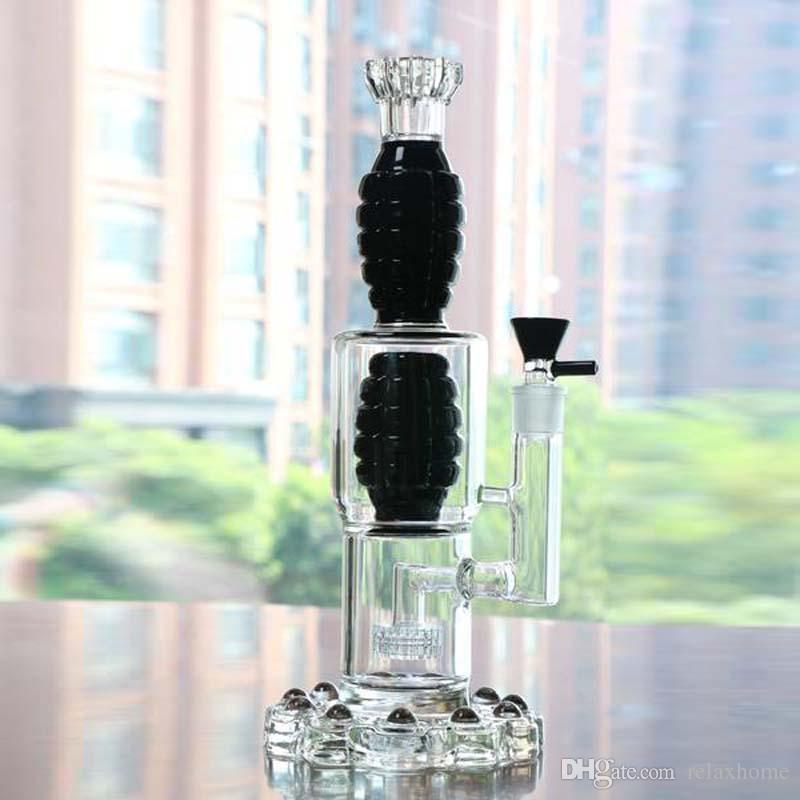 Grace Black Glass Bong Height 15 Inch Stablest Base Oil Rigs Bongs Water Pipes Creative Designed Two Grenade Shaped Percolators Hookahs