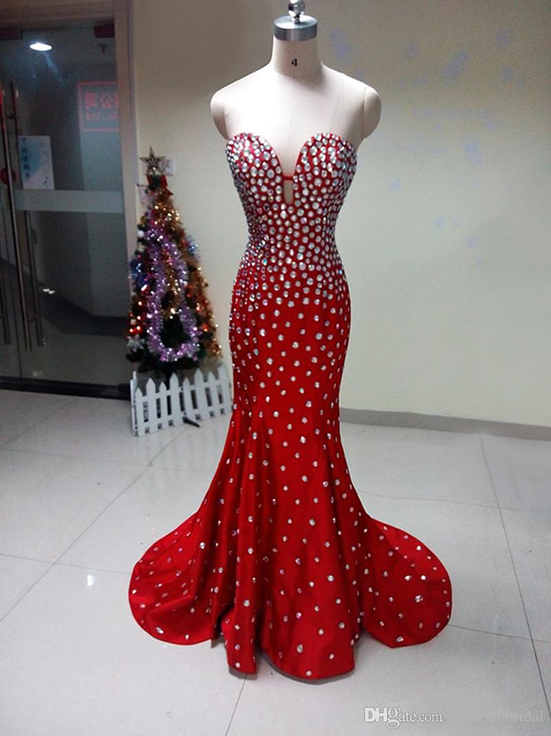 Red Satin Evening Dress Mermaid 2017 Luxury Rhinestones Long Prom ...