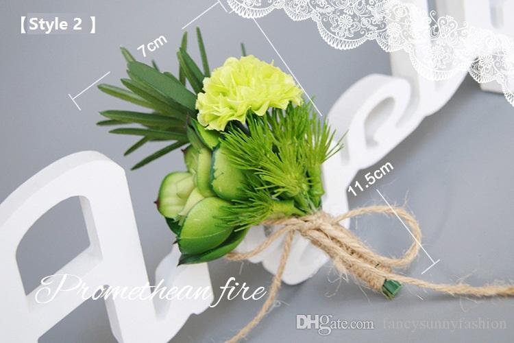 corsage flower brooch pins white green yellow PU artificial Tulips Succulent plants for weddings high quality wholesale cheap price 2 styles