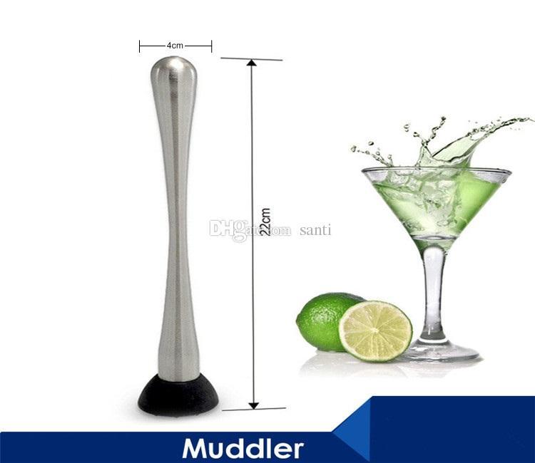 Bicchiere da cocktail in acciaio inox, limone, salsa al bar