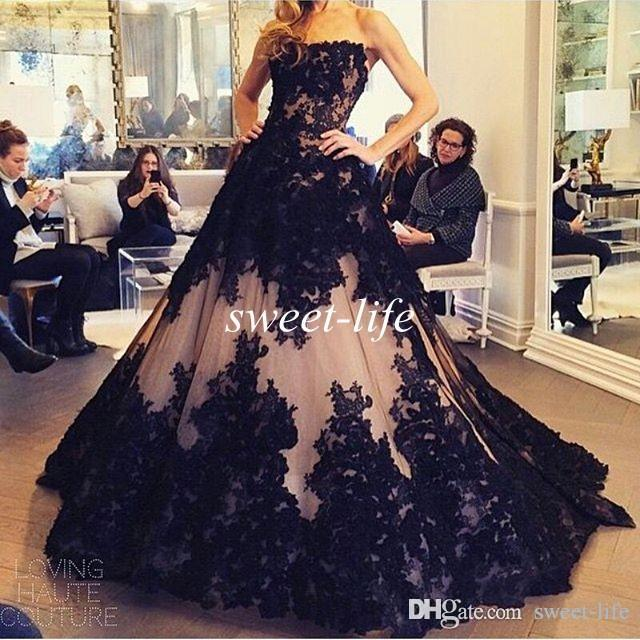 Black and White Evening Dresses 2020 Lace Strapless Appliques Gothic Tulle A Line Princess Prom Gowns