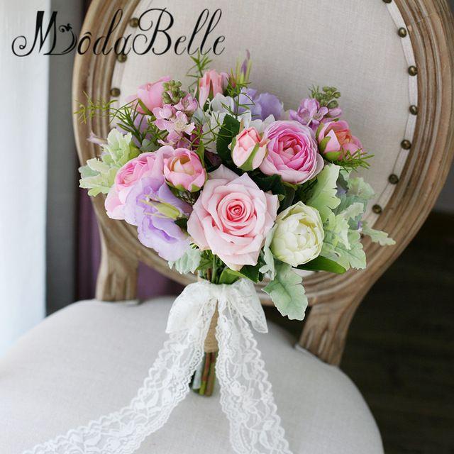 2017 Bridal Bouquets Pink Purple Rose Tulip Green Leaf Wedding ...