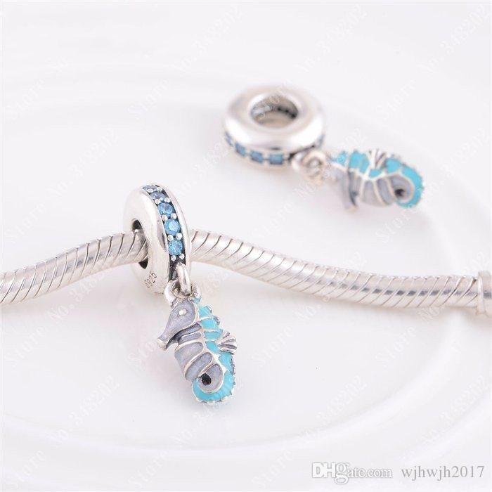 Tropical Seahorse Dangle Charm Beads Fits Pandora Bracelet 925 Sterling Silver Teal Green Crystal Animal Bead DIY 2016 Summer Fine Jewelry