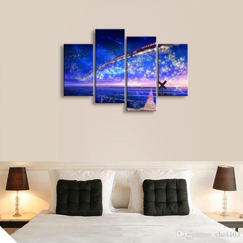 4 Panel yıldızlı gökyüzü Boyama Tuval Wall Art Resim Ev Dekorasyon Oturma Odası Tuval Baskı Modern Boyama-Büyük Canvas Sanat Ucuz SD-013