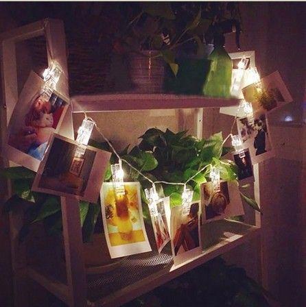 2m Photo Clip Light fairy String picture peg Display 20LED Christmas Wedding Hanging Night Wall window Lights Home bar decor