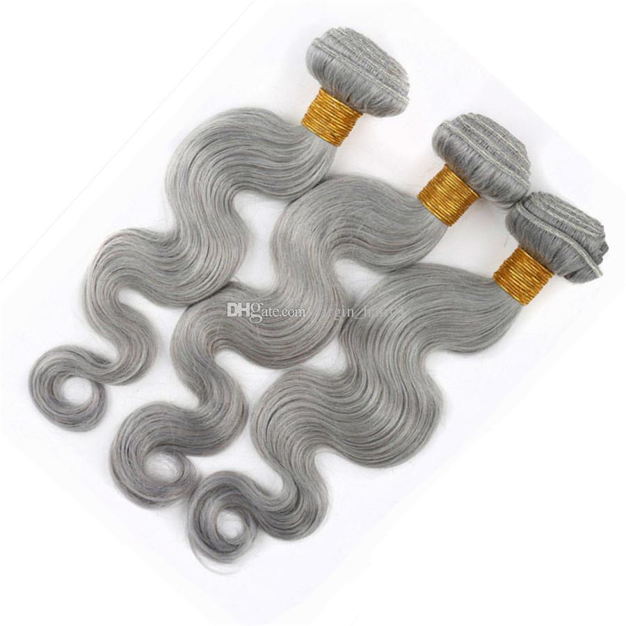 Capelli vergini peruviani dell'onda del corpo con le chiusure del pizzo Capelli umani grigi del nastro 3 pacchi con la chiusura superiore del pizzo nodi candeggiati con i capelli del bambino