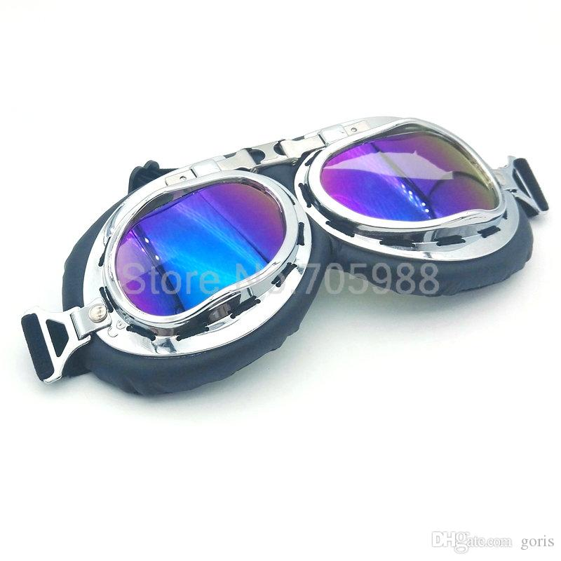 Multi lens silver Retro motorcycle sunglasses bike Fit with Half or Open Face Helmets for Harley Davidson