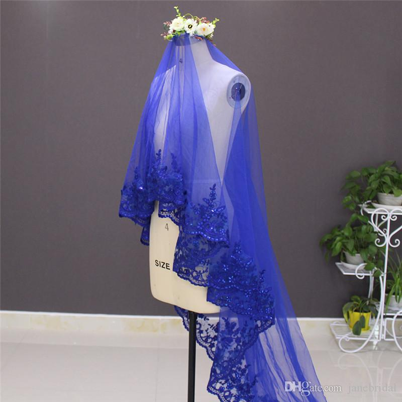 New Arrival One Layer Sequins Fully Laced Red Tulle Bridal Veil WITHOUT Comb High Quality Wedding Accessories NV7012