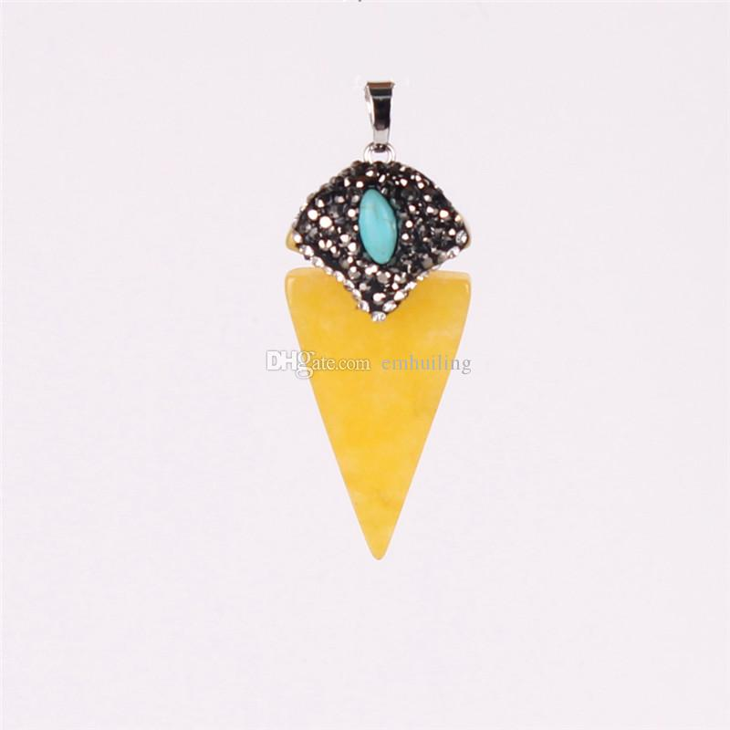 Geometric Triangle Pointed Reiki Energy Pendant Luxuious Pesonality Nature Cherry Quartz Lapis Lazuli Crystal Pave Zircon Turquoise Beads