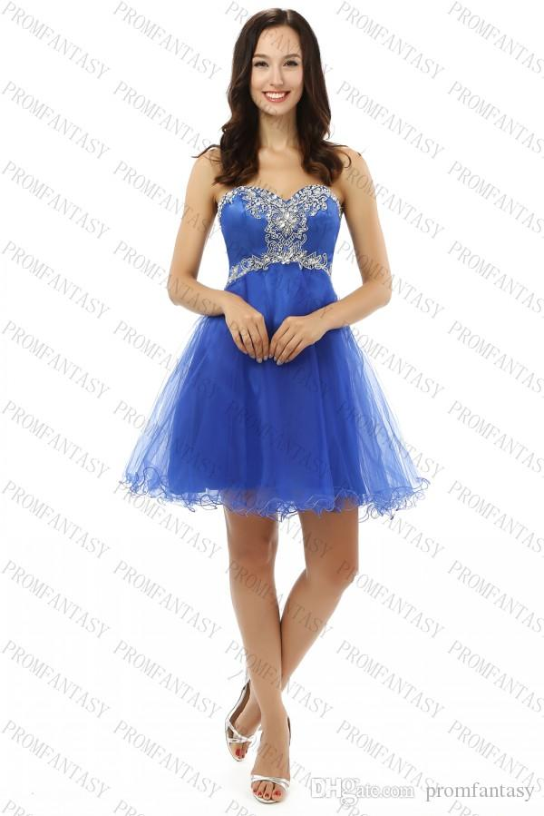 Royal Blue Short Homecoming Dresses Sweetheart Shiny Crystals Beaded ...