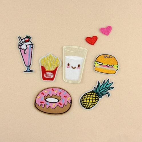 Discount Embroidery Patch French Fries Hamburger Milk Donuts