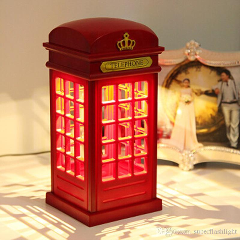 Retro London Telephone Booth Night Light USB Battery Dual-Use LED Bedside Table Lamp Touch Sensor Panel LEG_745