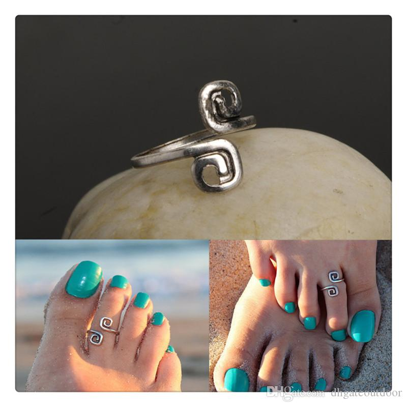 Wholesale Trendy Women Toe Rings Female Vogue Simple New Luck 8 Words Retro Toe Ring Adjustable Beach Foot Rings Body Jewelry