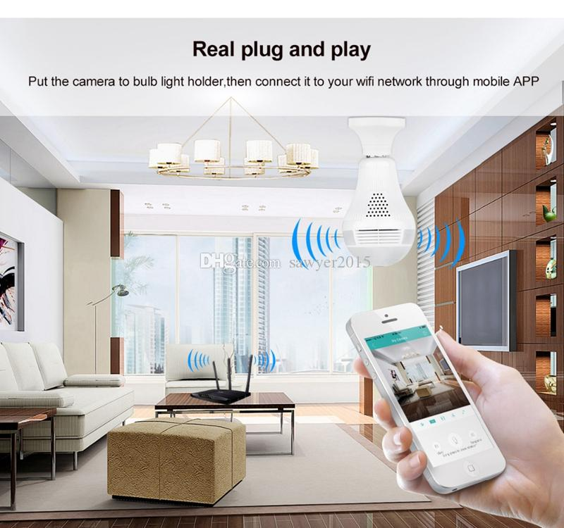 Bulb Wifi IP Camera 360 Degree HD 960P Panoramic Fisheye bulb Lamp Camera Wifi P2P Phone Remote CCTV Camera Baby Monitor