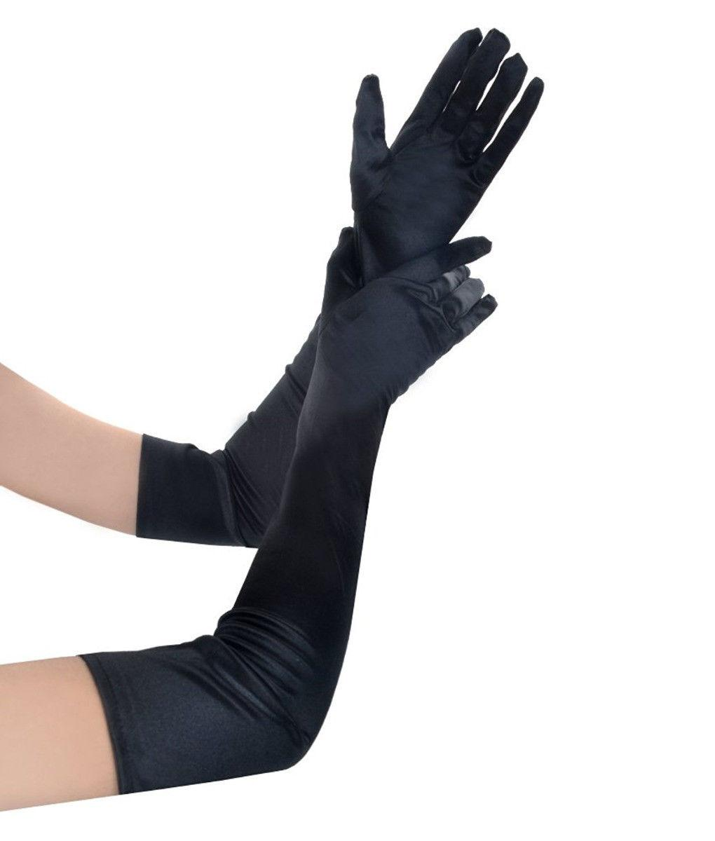 Новые перчатки невесты в черно-белом греться длинные атласные оперные спектакли осень зима свадебное платье аксессуары