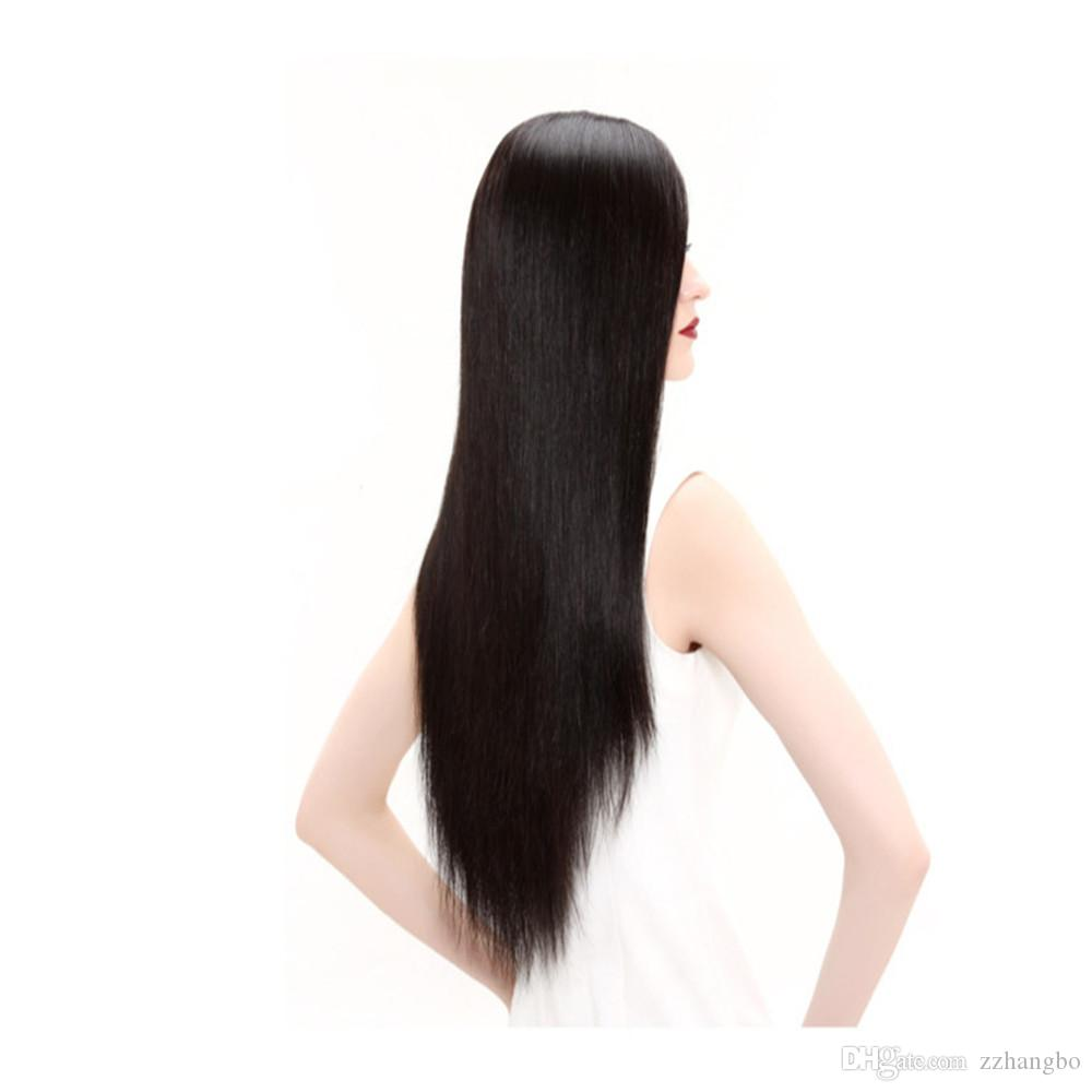 Full Lace Human Hair Wig Senior silk wig Long Wavy Full Lace Wigs Brazilian Virgin Hair 100% With Bangs For women Colour 2# Color natural