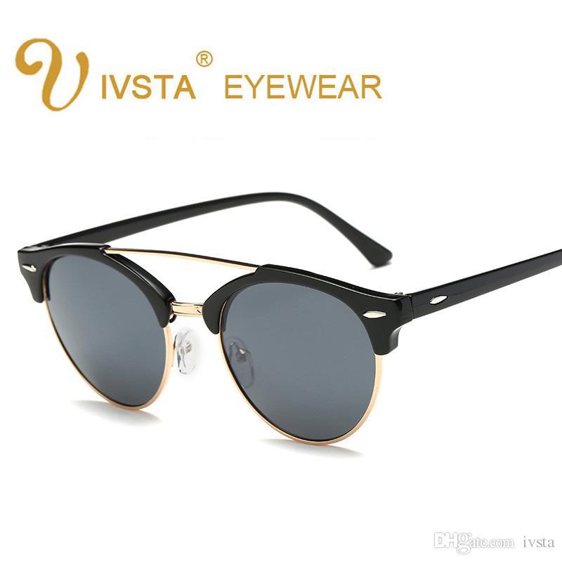 d6710a077842e Compre IVSTA 2017 Olho De Gato Óculos De Sol Das Mulheres Do Estilo Coreano  Piloto Óculos Feminino Homens Eyewear Retro Óculos Mulher 1156 De Ivsta