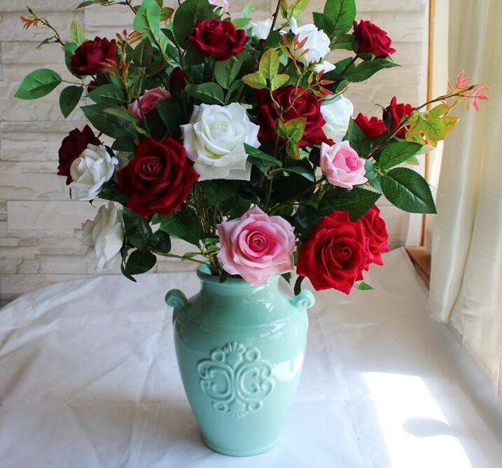 Grosshandel Hohe Simulation Rose 3 Blumen Lint Rosen Seidenblumen