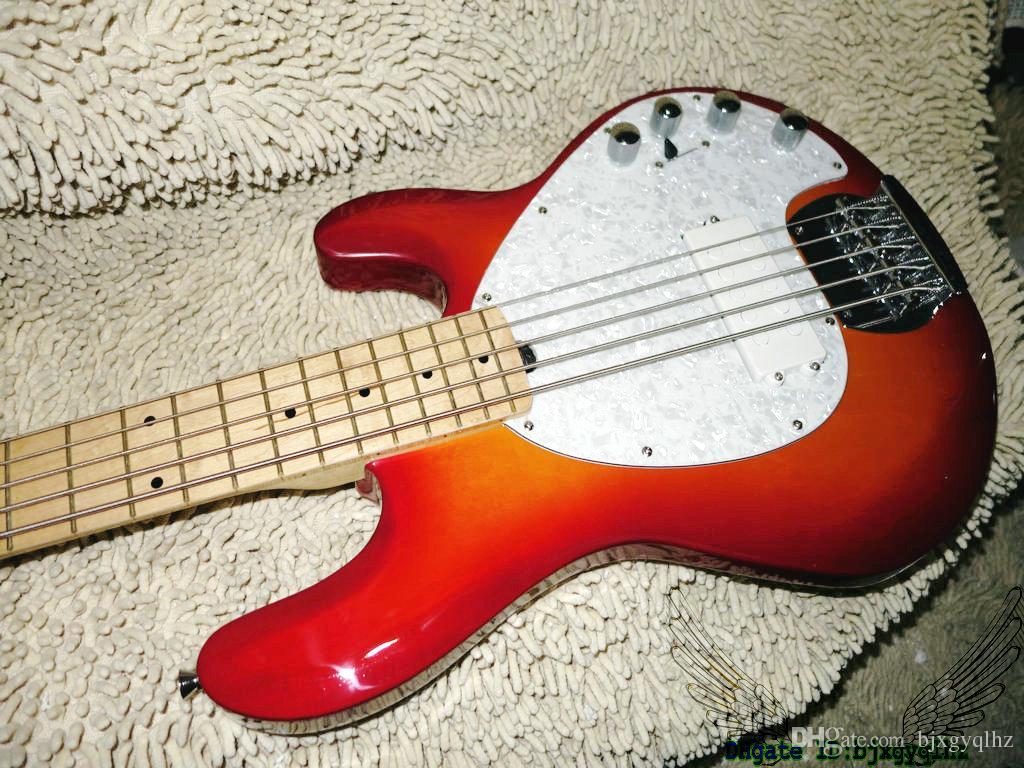 China Bass Guitars Cherry Burst StingRay 5 Electric Bass Maple Fingerbard Best Selling