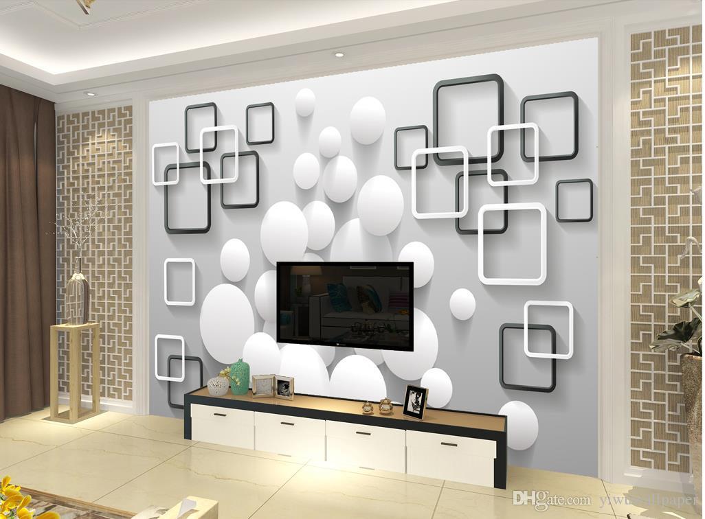 Personalizzato qualsiasi dimensione moderna parete di fondo scatola sfera minimalista murale 3d carta da parati carta da parati 3D la TV sullo sfondo