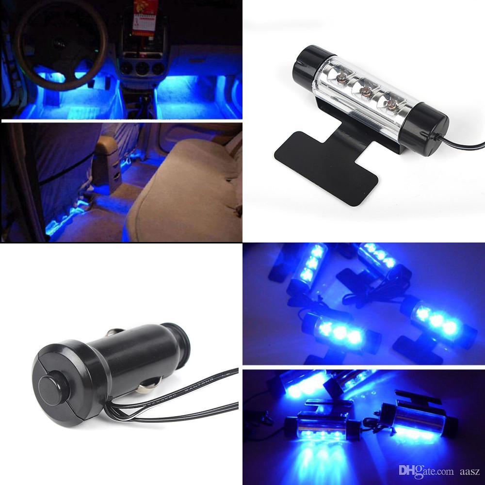 Haute qualité bleu 4in1 12V 4x 3LED lumières de l'atmosphère de voiture LED lampe d'ambiance de voiture intérieur bleu clair romantique pied lumière intérieure