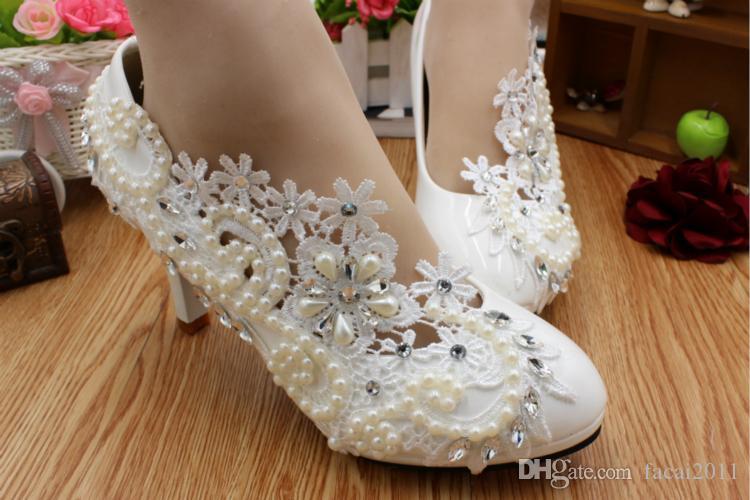 수동 화이트 하이힐 웨딩 신발 진주 다이아몬드 방수 신부 사진 서양식 웨딩 드레스 웨딩 연회