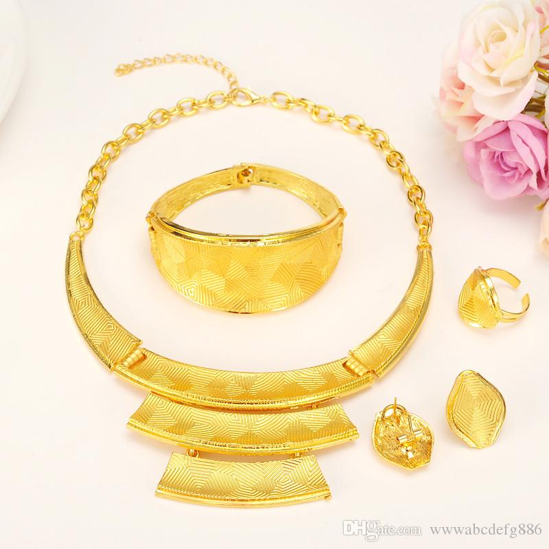 2018 New Luxurious Noble Real Solid Gold Jewelry Sets 4 24k Yellow