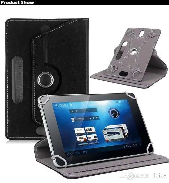 Étuis universels pour tablette pivotant à 360 degrés 10 housse de support en cuir PU 7 8 9 pouces pli Flip Covers Built-in Card Buckle Pad