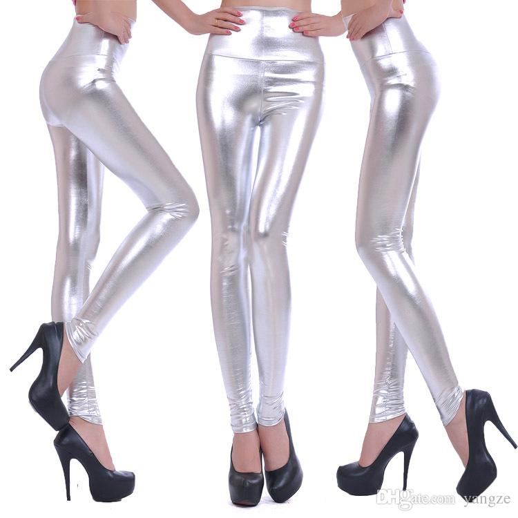 Wholesale Low Price Leggings for Women High Waist Tight Pants Imitation Leather Leggings Trousers Stretch Pants XS S M L