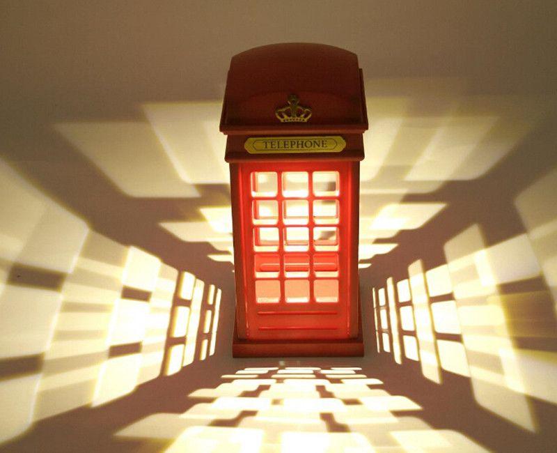 Retro London Telephone Booth Night Light USB Battery Dual-Use LED Bedside Table Lamp luminarias Best Gift ZA2643