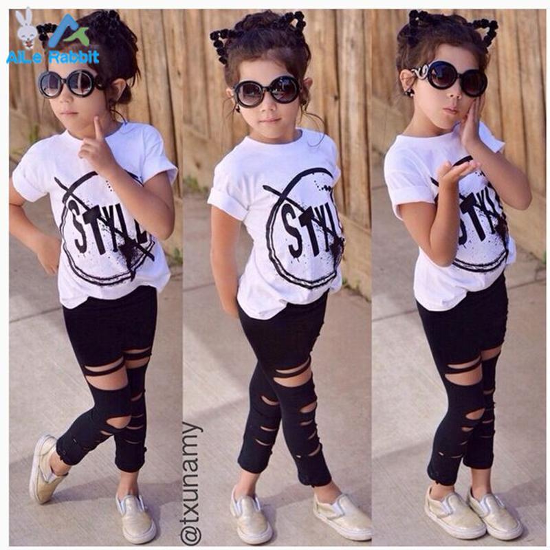 eb8f3d4a2f286 Acheter En Gros 2016 Nouvelle Mode Enfants Filles Vêtements Ensemble Petite  Fille D été À Manches Courtes T Shirt Et Trou Pantalon Leggings Outfit  Enfants ...