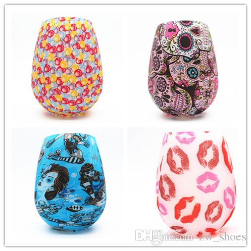 DHL & SF_express camo skull Silicone Wine Glasses Lip Bohemia rubber wine glasses silicone water bottle cup CHEAPEST!!!