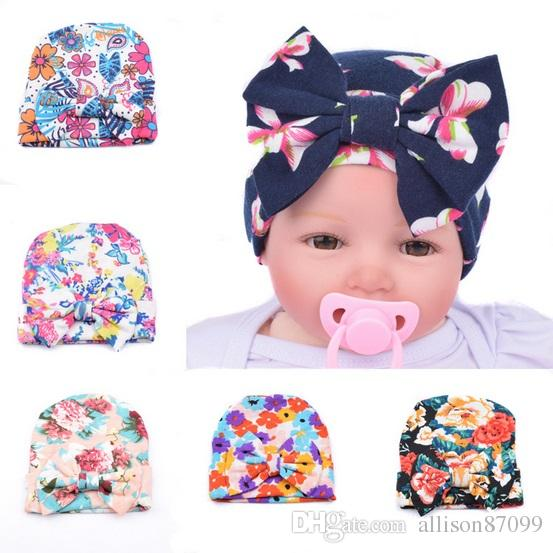 2019 Maternity Newborn Hats Baby Beanies Big Bow Knit Hat Floral Print  Boutique Soft Warm European Hotsale Autumn Winter Wholesale 0 3months 2016  From ... f90fb38442a