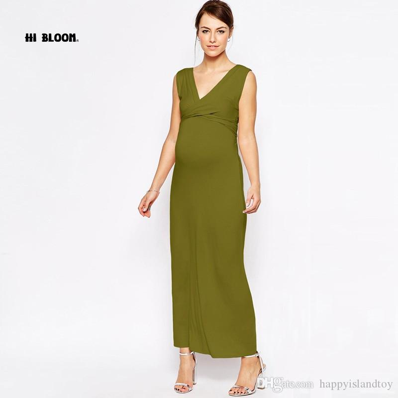 2018 Maternity Clothing V Neck Fashion Long Evening Gowns Dresses ...