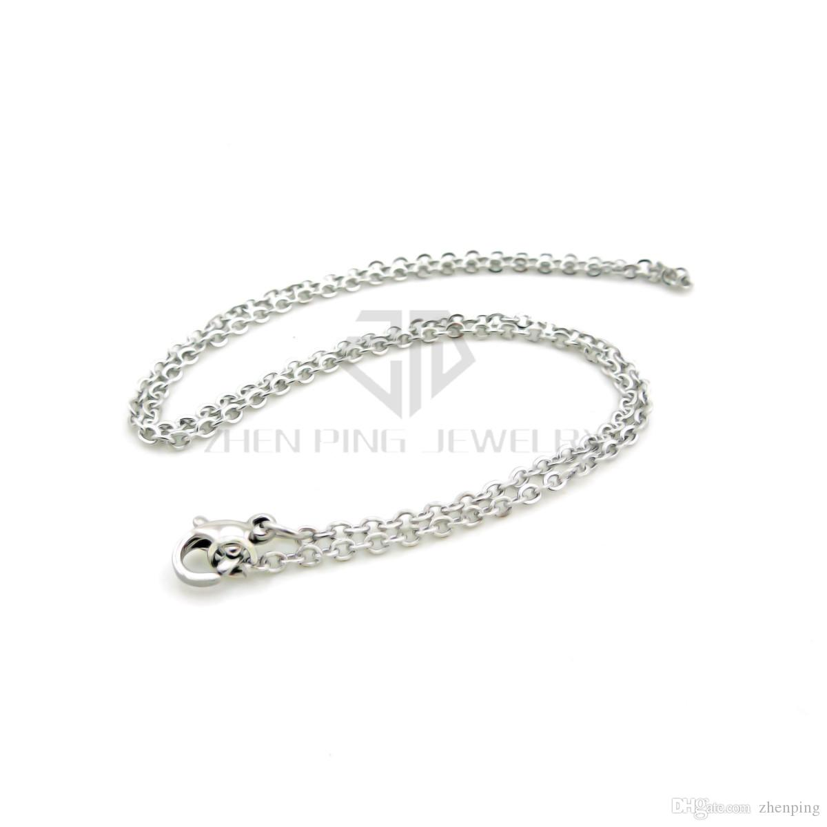 Hot Sale 14''- 20''36cm-51cm 2mm Round Silver Stainless Steel with lobster clasp Flat Cable O Chians