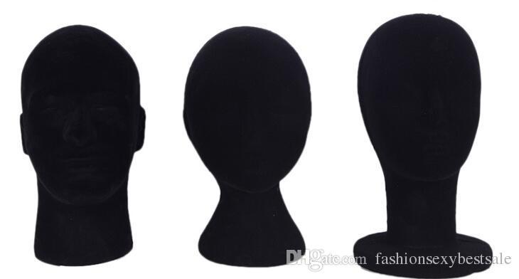 wholesale 3style Female man Foam Bald male Mannequin Head Wigs Hats Glasses Headphone Display Model Stand black B612